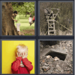 4 Pics 1 Word child playing hide and seek