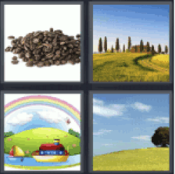 4 Pics 1 Word Boat and rainbow. Coffee grains...