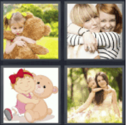 4 Pics 1 Word little girl with teddy bear