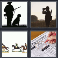 4 Pics 1 Word man with shotgun and dog. Horses running.
