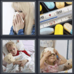 4 Pics 1 Word woman blowing nose germs
