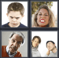 4 Pics 1 Word boy with angry face
