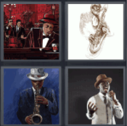 4 Pics 1 Word man playing saxophone