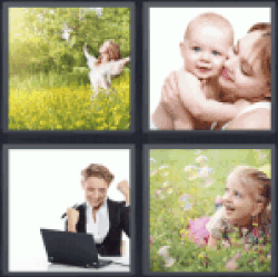 4 Pics 1 Word woman in field