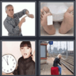 4 pics 1 word man pointing at clock