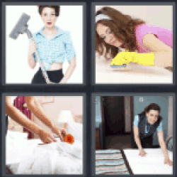 4 pics 1 word girl with vacuum cleaner