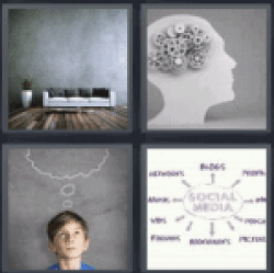 4 pics 1 word brain with gears boy thinking