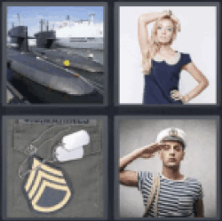 4 Pics 1 Word submarine Blond woman in blue dress Military clothing