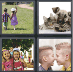 4 pics 1 word boy and girl on the grass