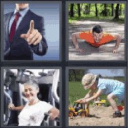 4 pics 1 word man pointing