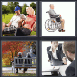 4 Pics 1 Word couple sitting on bench