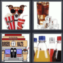 4 Pics 1 Word dog with sunglasses popcorn