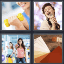 4 Pics 1 Word girl lifting weights