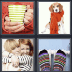 4 pics 1 word Dog with scarf