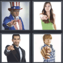 4 Pics 1 Word People pointing with the finger