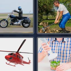 4 pics 1 word Motorcycle helicopter
