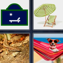 4 pics 1 word Dog in hammock